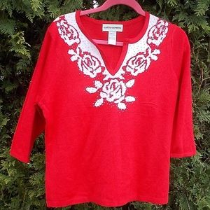 Cathy Daniels Red and White Sweater, L